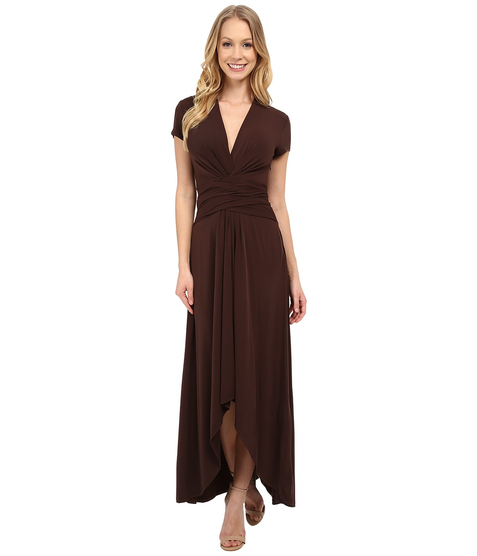 MICHAEL Michael Kors - Capsleeve Maxi Wrap Dress (Chocolate) Women's Dress
