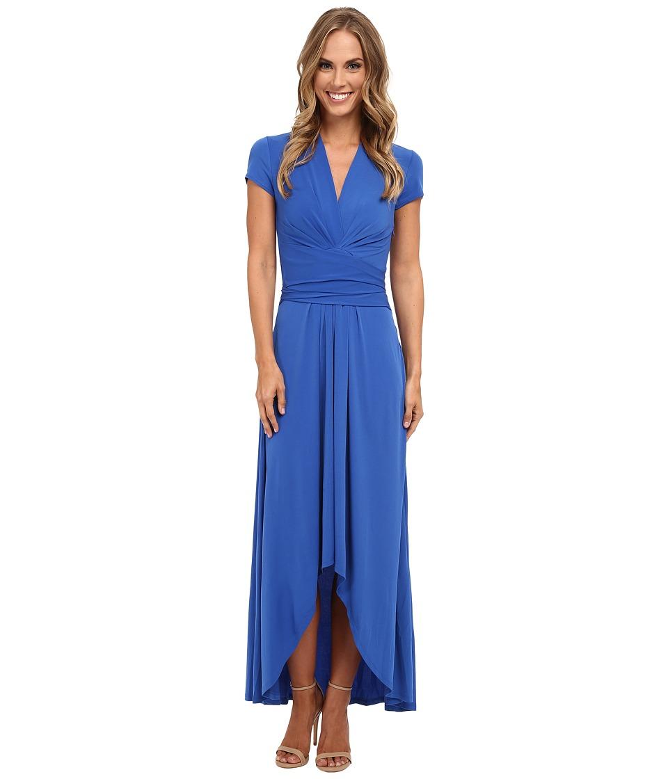 MICHAEL Michael Kors - Capsleeve Maxi Wrap Dress (Amalfi Blue) Women's Dress