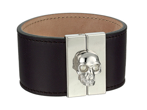 Alexander McQueen - Skull Leather Cuff (Deep Purple) Bracelet