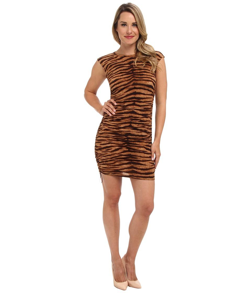 MICHAEL Michael Kors - Cap Sleeve Ruched Dress (Caramel) Women's Dress