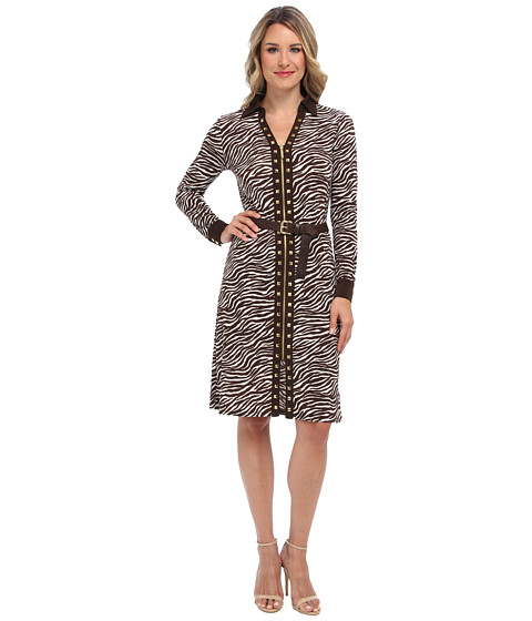 MICHAEL Michael Kors - Printed Stud Zip Shirt Dress (White) Women's Dress