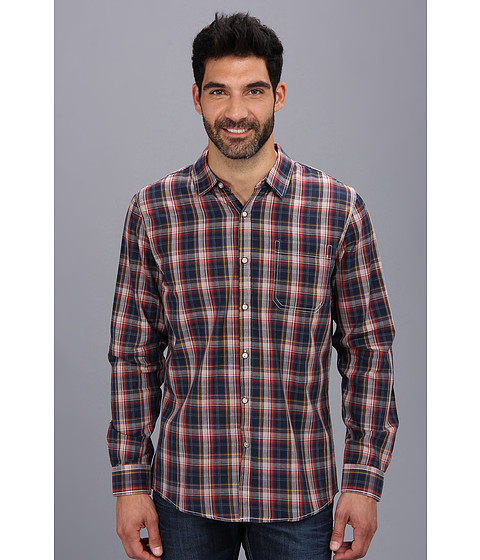 Sovereign Code - Kenny L/S Woven (Orange Plaid) Men's Long Sleeve Button Up