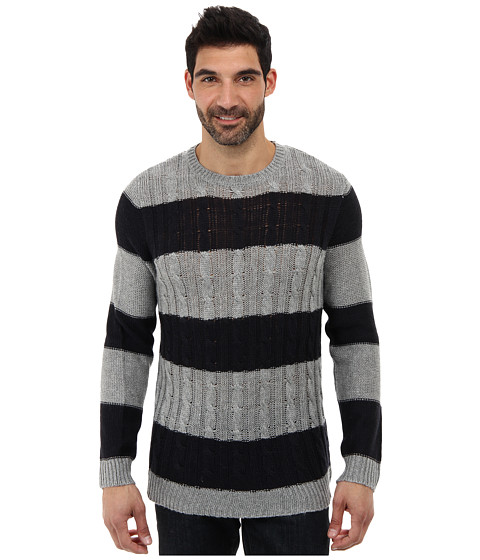 Sovereign Code - Michael Striped Sweater (Navy Grey Stripe) Men