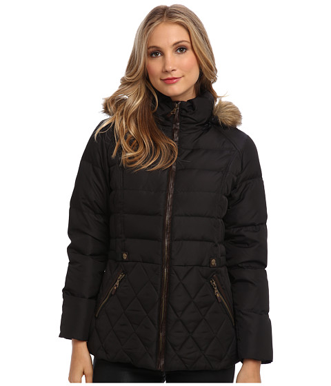 Larry Levine - Diamond Quilted Down Filled Coat (Black) Women's Coat