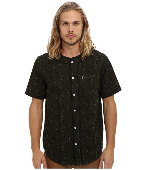 Crooks & Castles - Infantry Woven Baseball Jersey (Military Digi Camo) Men's Short Sleeve Button Up