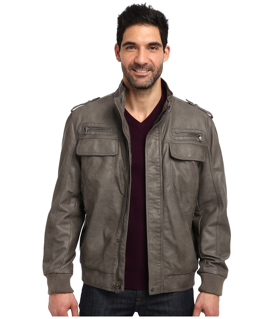 Calvin Klein - Faux Leather Bomber Jacket CM499264 (Grey) Men's Jacket