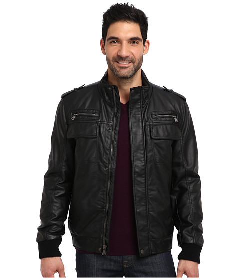Calvin Klein - Faux Leather Bomber Jacket CM499264 (Black) Men
