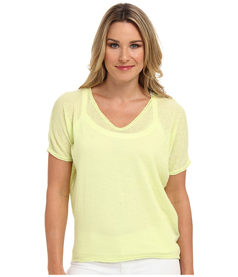 Clich Mode - Short Sleeve Linen Shredded Back (Lime) Women's Sweater
