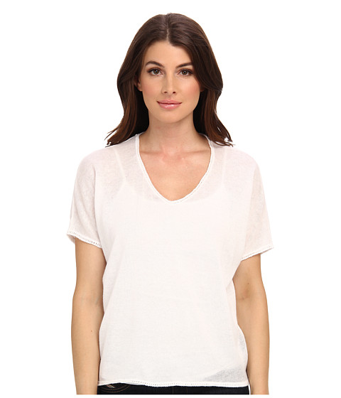 Clich Mode - Short Sleeve Linen Shredded Back (White) Women's Sweater