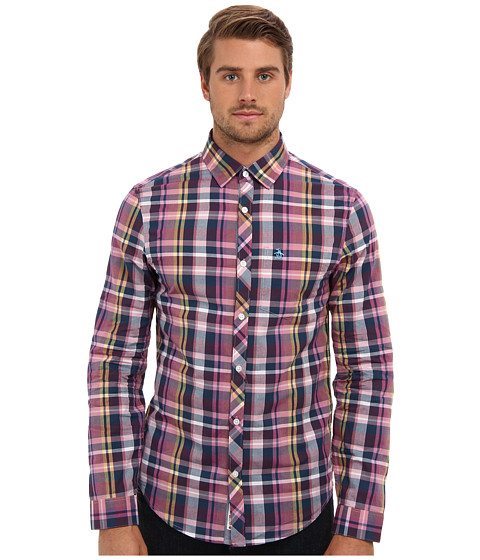 Original Penguin - Heritage Fit L/S Mixed Fabric Woven (Blue Wing Teal) Men