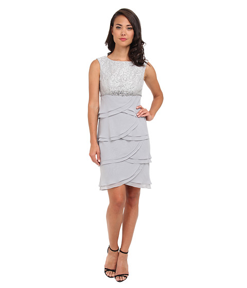 Jessica Howard - Cap Sleeve Boatneck Beaded Empire Waist Dress w/ Layered Artichoke Skirt (Silver) Women