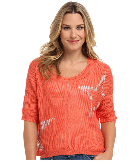 Clich Mode - Star Mesh with Sheer Back (Tangerine) Women's Sweater