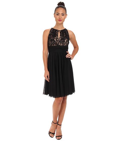Jessica Howard - Sleeveless Shirred Keyhole Neck Dress w/ Ruched Waist (Black) Women