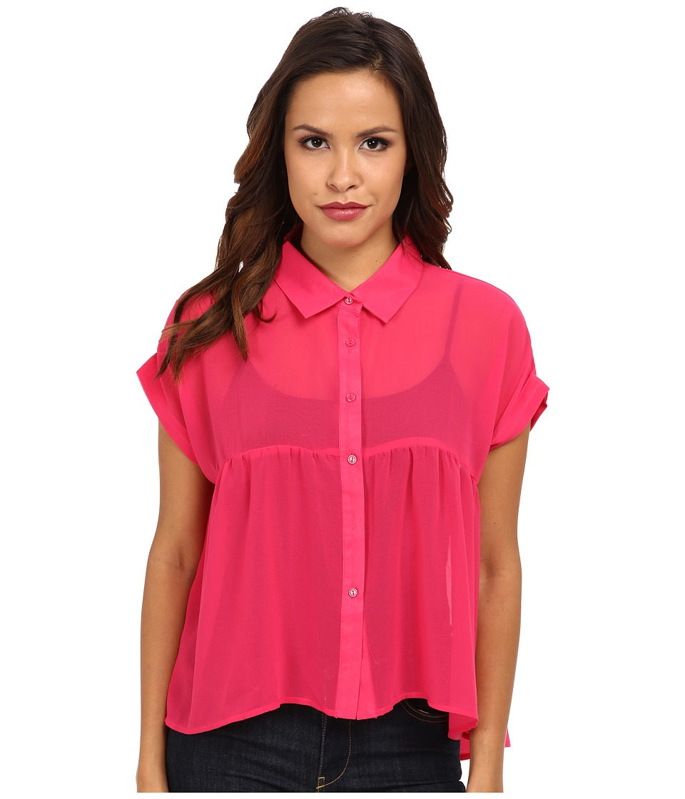 Clich Mode - Button Front Hi-Low Blouse (Fuchsia) Women's Blouse