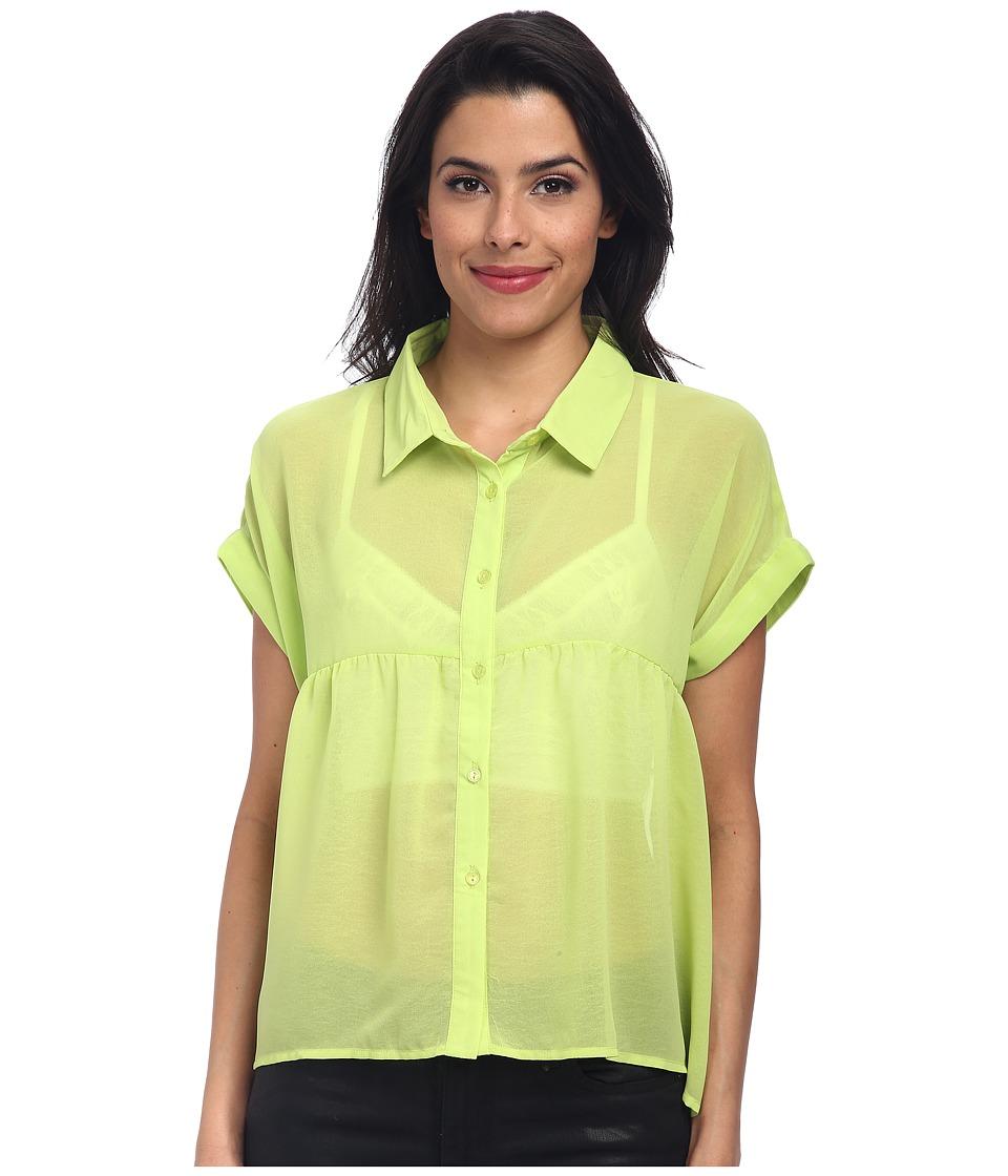 Clich Mode - Button Front Hi-Low Blouse (Lime) Women's Blouse