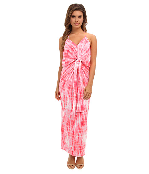 Tbags Los Angeles - Tie Front Maxi Dress (CO12 Print) Women's Dress