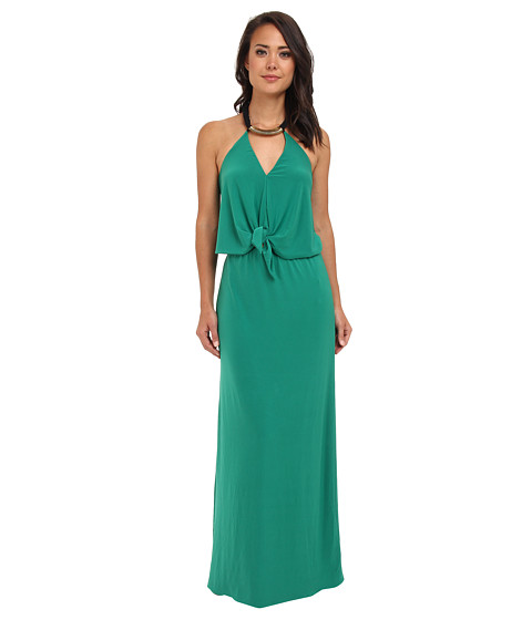 Tbags Los Angeles - Convertible Maxi Dress w/ Black/Gold Neck Piece (Green) Women's Dress
