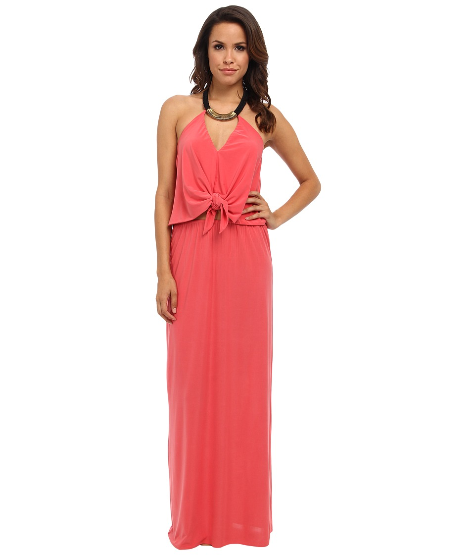 Tbags Los Angeles - Convertible Maxi Dress w/ Black/Gold Neck Piece (Coral) Women's Dress