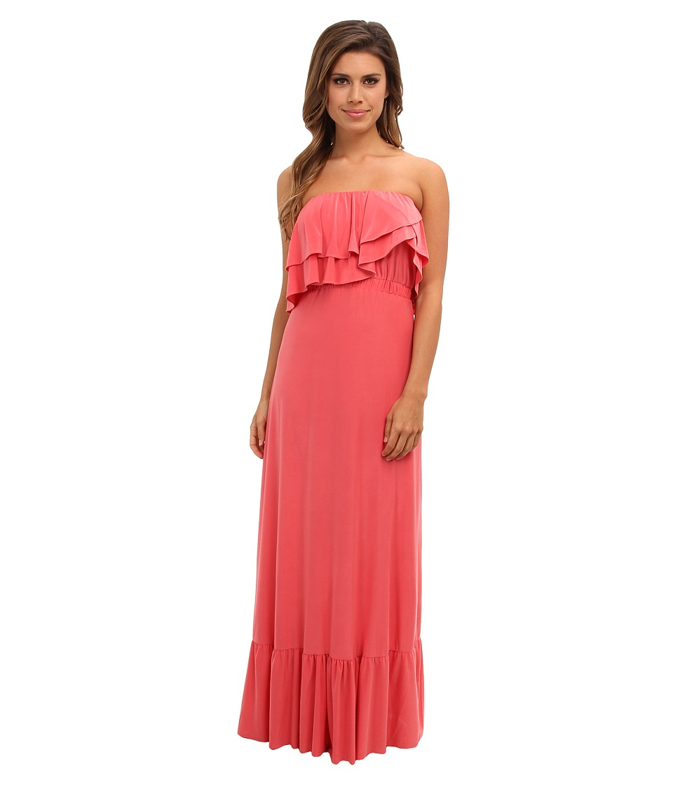Tbags Los Angeles - Layered Ruffle Maxi Dress (Coral) Women's Dress