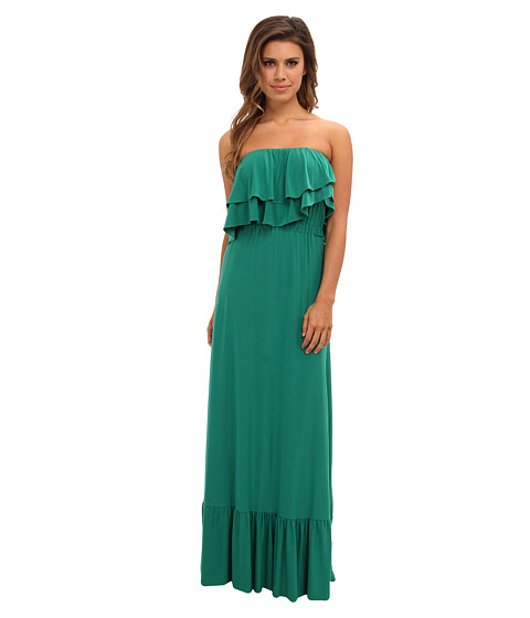 Tbags Los Angeles - Layered Ruffle Maxi Dress (Green) Women