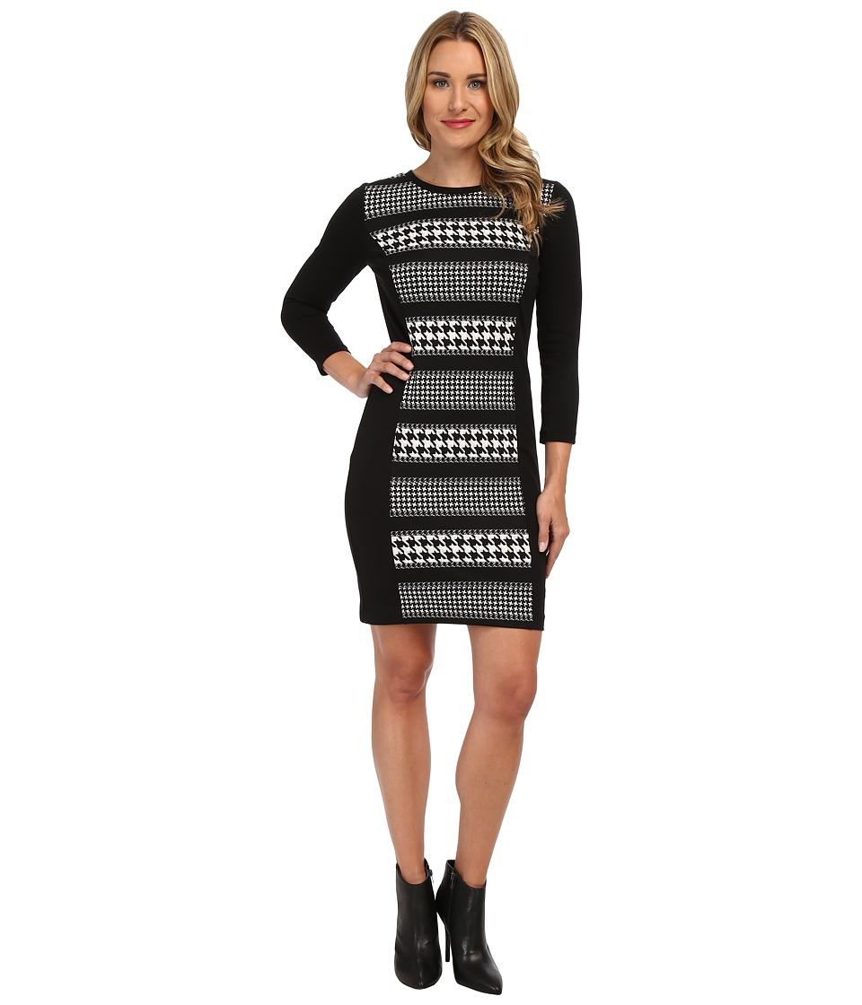 MICHAEL Michael Kors - Stripe Printed L/S Ponte Dress (Black) Women