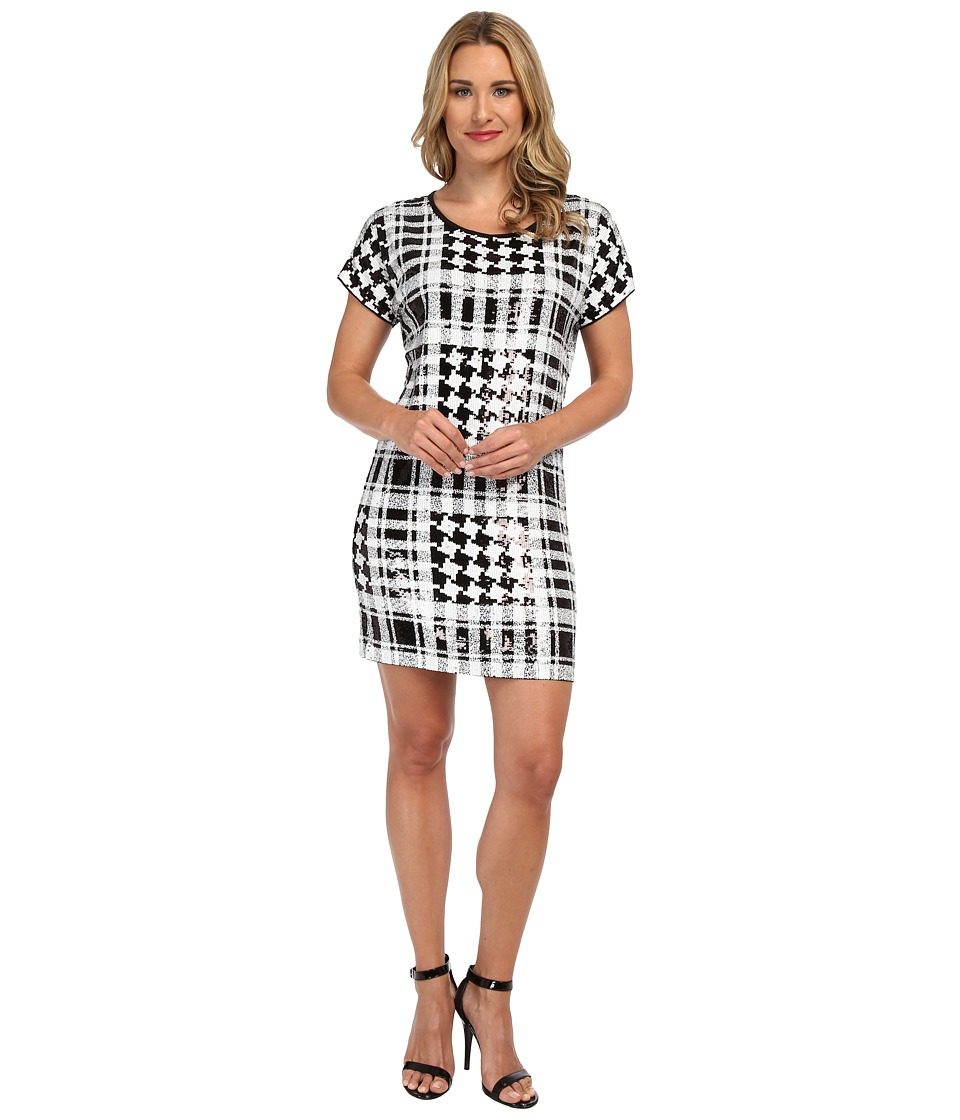 MICHAEL Michael Kors - Sequin Hounds/Plaid Dress (Black/White) Women's Dress