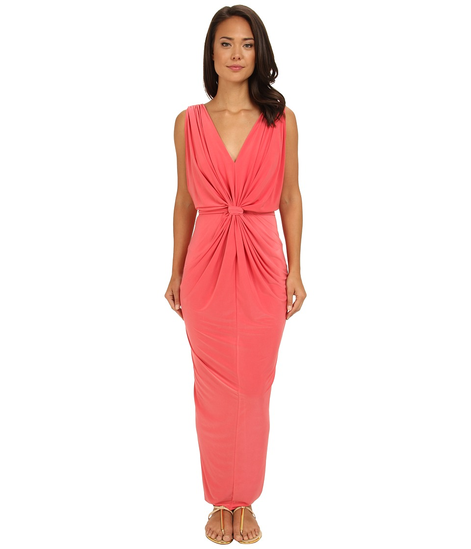 Tbags Los Angeles - V-Neck Drape Sleeve Waisted Maxi w/ Tie Belt (Coral) Women