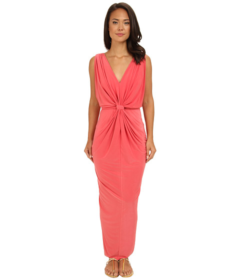 Tbags Los Angeles - V-Neck Drape Sleeve Waisted Maxi w/ Tie Belt (Coral) Women's Dress