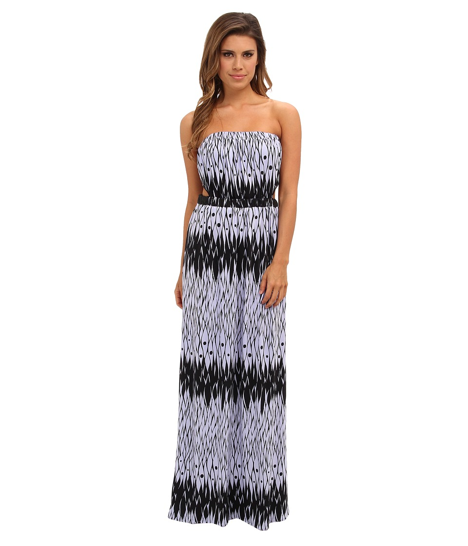 Tbags Los Angeles - Tube Maxi Dress w/ Side Cutouts (FR4 Print) Women's Dress