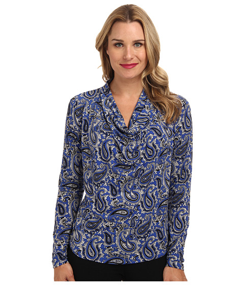 MICHAEL Michael Kors - L/S CWL Neck Dip Hem Top (Amalfi Blue) Women