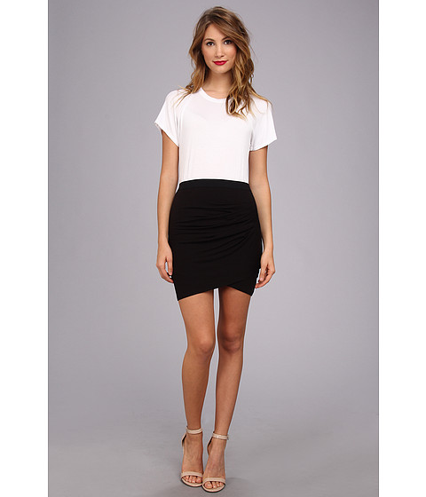 BCBGMAXAZRIA - Julie Shirred Tulip Skirt Dress (White Combo) Women