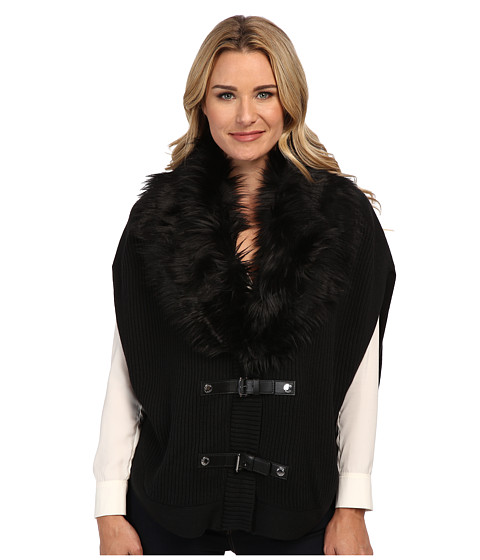 MICHAEL Michael Kors - Faux Fur Buckle Poncho (Black) Women's Sweater