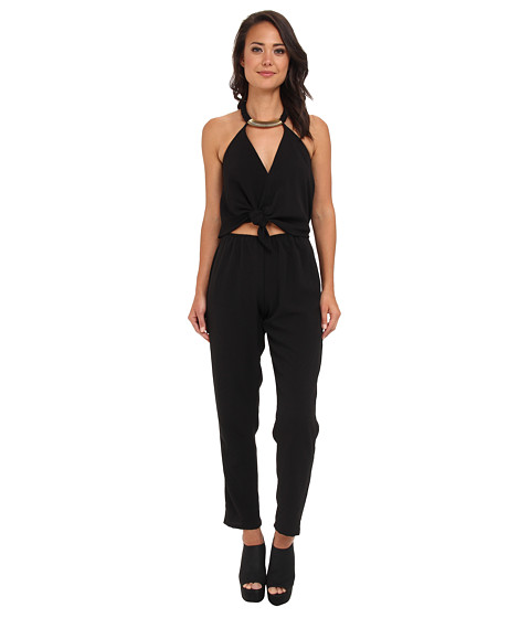 Tbags Los Angeles - Woven Convertible Jumpsuit w/ Black/Gold Neck Piece (Textured Black) Women
