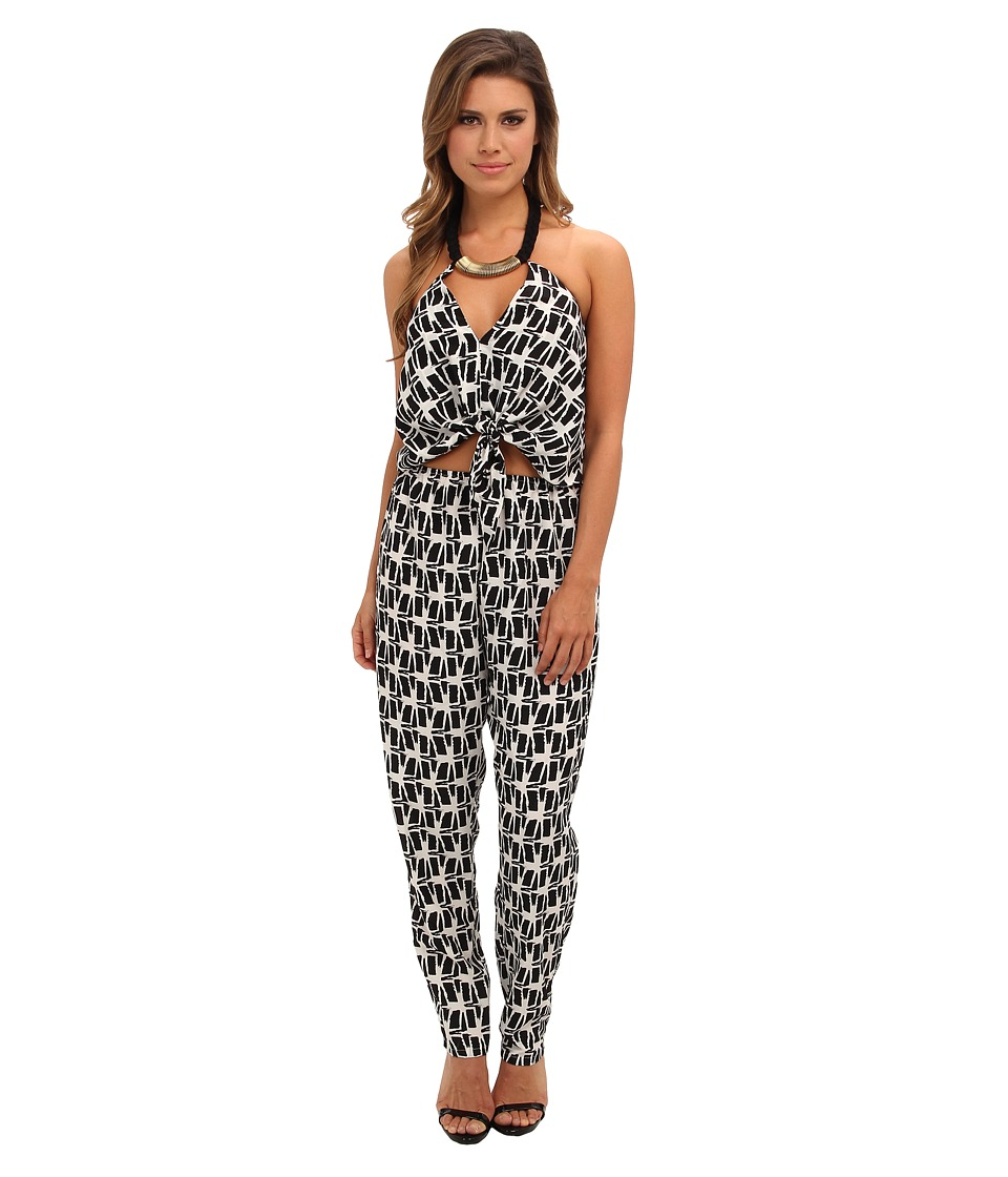 Tbags Los Angeles - Woven Convertible Jumpsuit w/ Black/Gold Neck Piece (FR1 Print) Women's Jumpsuit & Rompers One Piece