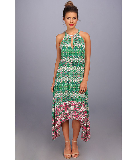 BCBGMAXAZRIA - Kellie Print Blocked Halter Dress (Kelly Green Combo) Women