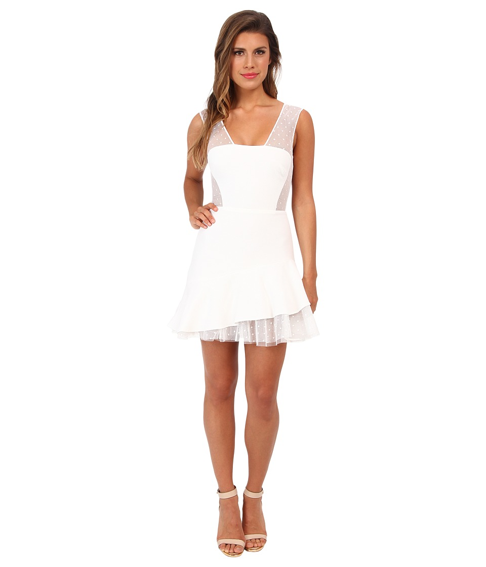BCBGMAXAZRIA Ariana Asymmetrical Hem Dress (White) Women
