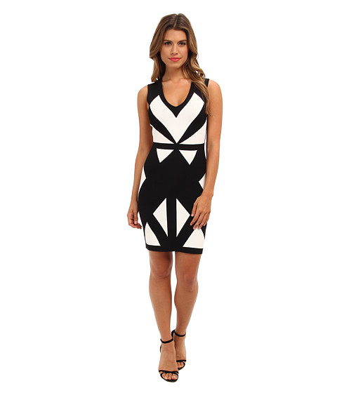 BCBGMAXAZRIA - Evinna Geometric Jacquard Dress (Black Combo) Women