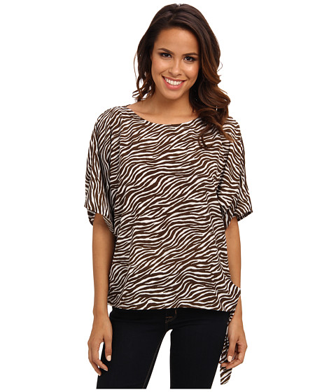 MICHAEL Michael Kors - Savannah Zebra Tie Top (White) Women's Blouse