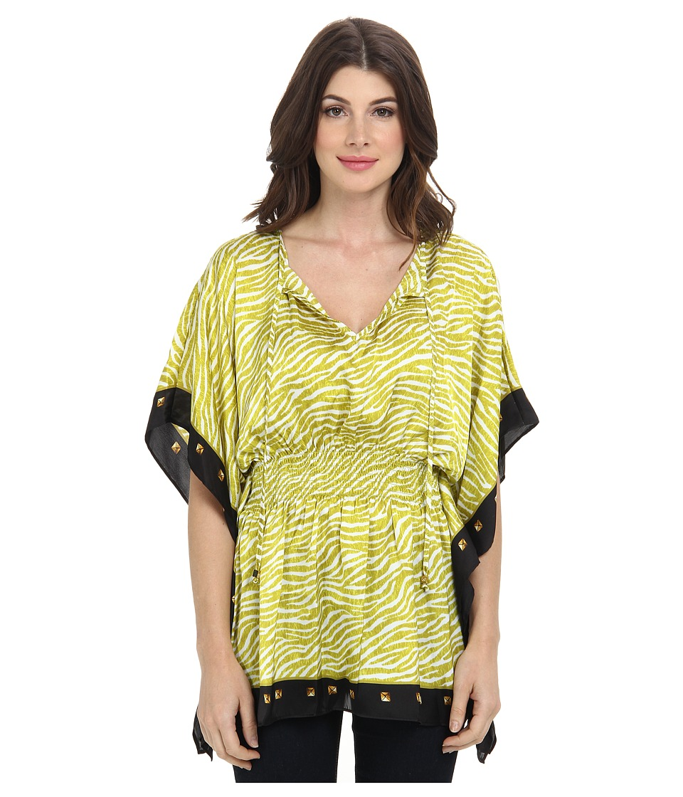 MICHAEL Michael Kors - Savannah Flowy Elastic Waist Tunic (Acid Lemon/White) Women's Blouse