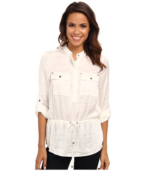 MICHAEL Michael Kors - L/S Shirt w/ Drawstring Waist (Ecru/Gold) Women's Blouse