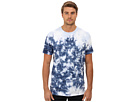 DKNY Jeans S/S Tie Dye Variagated Stripe Crew Neck Knit Tee (Fedrl Blue)