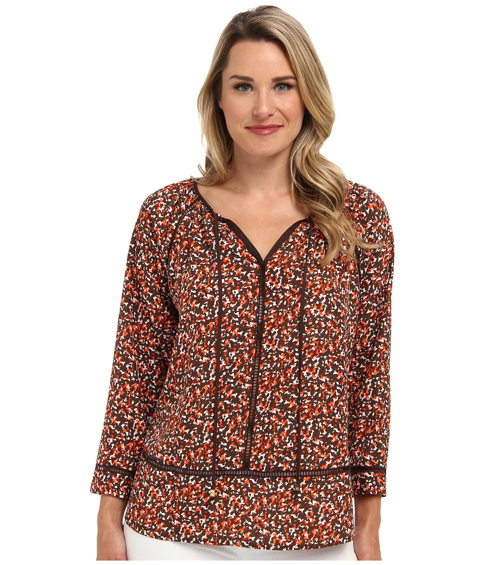 MICHAEL Michael Kors - Camo Print Tunic Top (Poppy/White) Women's Blouse
