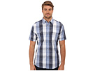 DKNY Jeans S/S Oversized Slub Gingham Shirt - Casual Press (Infinity) Men's Short Sleeve Button Up