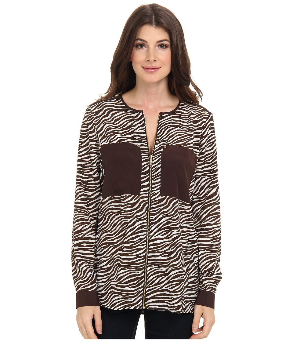 MICHAEL Michael Kors - Savannah Zebra L/S Oversized Blouse (White) Women's Blouse