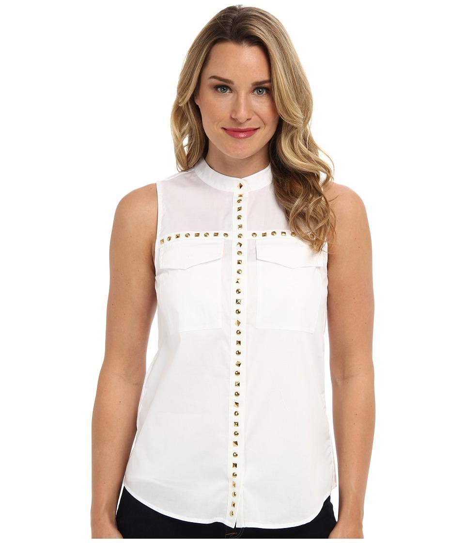 MICHAEL Michael Kors - Embellished S/L Pocket Blouse (White) Women's Sleeveless