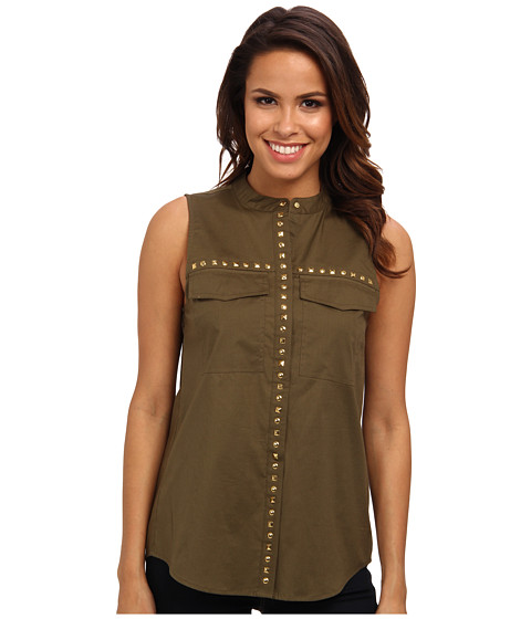MICHAEL Michael Kors - Embellished S/L Pocket Blouse (Duffle) Women
