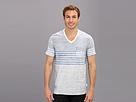 DKNY Jeans S/S Reverse Print Stripe V-Neck Knit
