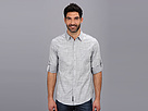 DKNY Jeans L/S Roll Tab Solid Slub Shirt - City Press (Grey) Men's Long Sleeve Button Up
