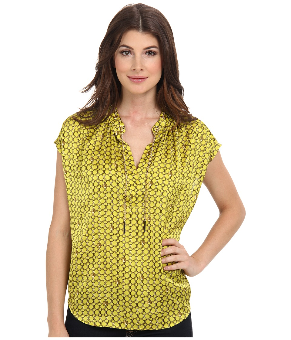 MICHAEL Michael Kors - Chain Lace Split Neck S/S Blouse (Acid Lemon) Women's Blouse