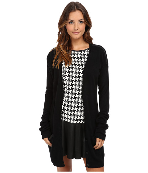 BCBGeneration - Faux Leather Trim Cardigan RTP4H603 (Black) Women's Sweater